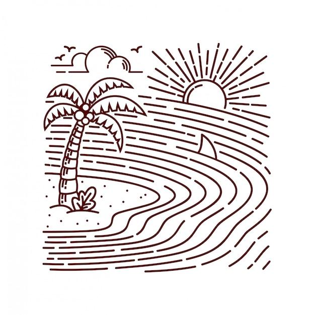 Ilustración de línea de isla del mar Vector Premium
