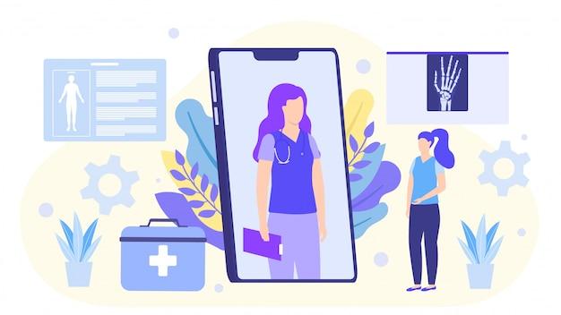Ilustración en línea del médico, el médico consulta al paciente en el teléfono inteligente. Vector Premium