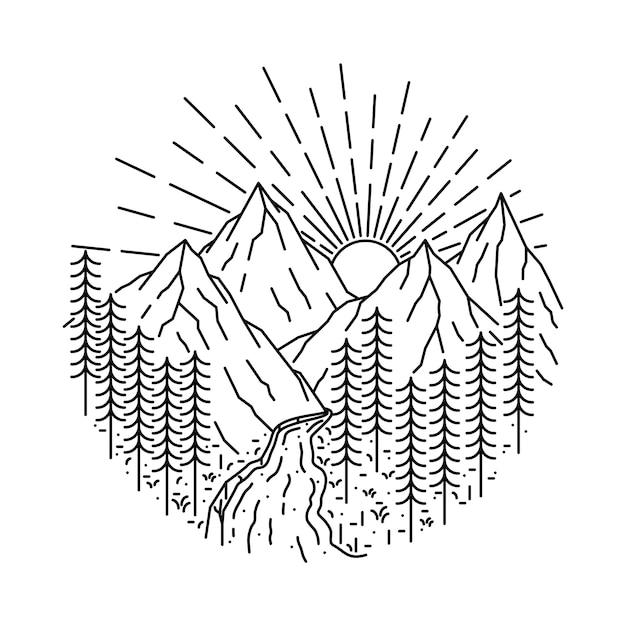 Ilustración de línea salvaje de naturaleza montaña río Vector Premium