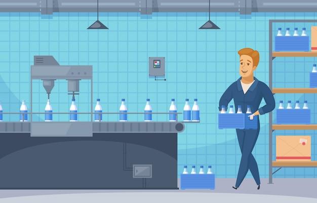 Ilustración de línea de transportador de leche vector gratuito