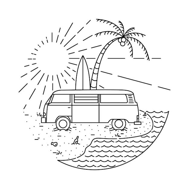 Ilustración de línea de verano van beach Vector Premium