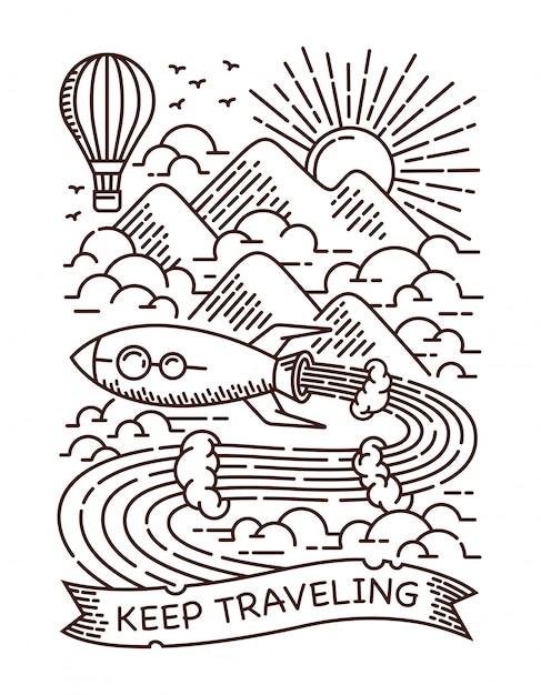 Ilustración de línea de viaje de cohete Vector Premium