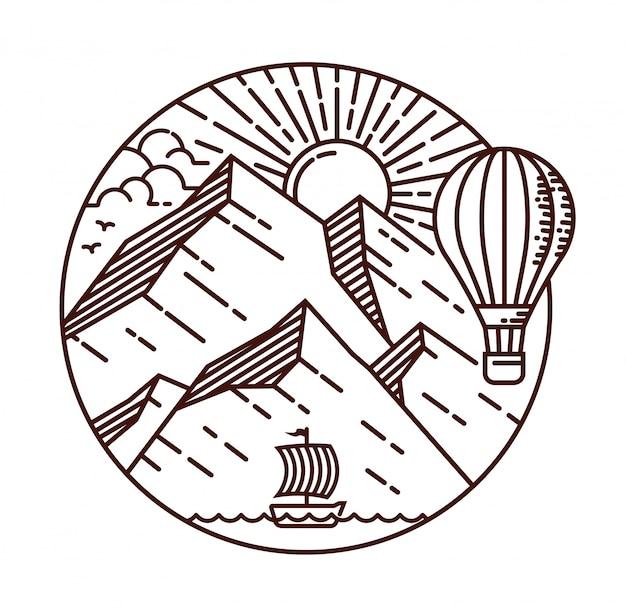 Ilustración de línea de viaje de montaña Vector Premium