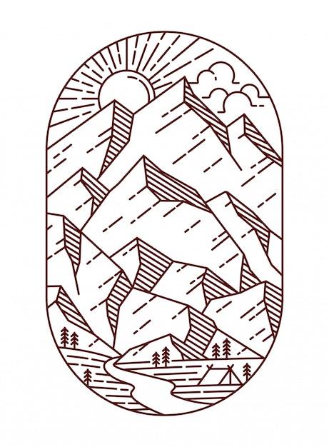 Ilustración de línea de vista a la montaña Vector Premium