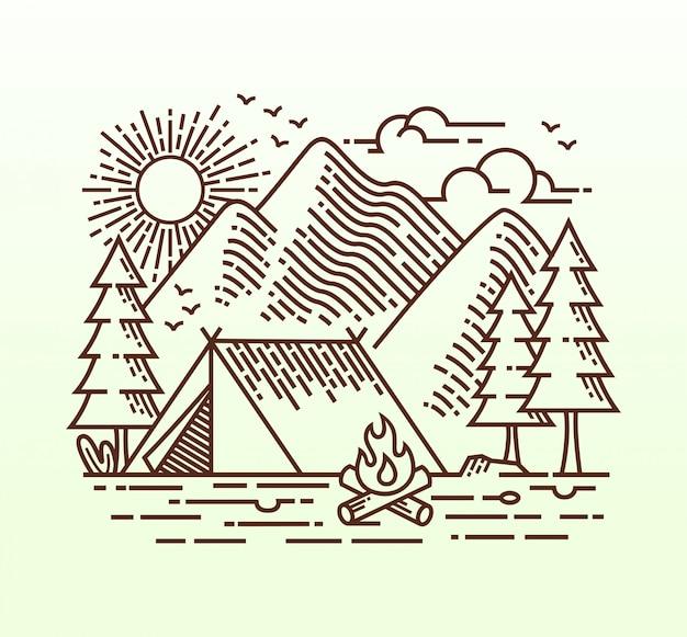 Ilustración lineal de camping Vector Premium