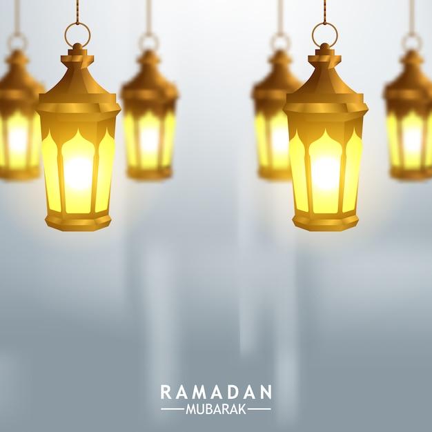 Ilustración de linterna dorada árabe colgante para plantilla de tarjeta de felicitación Vector Premium
