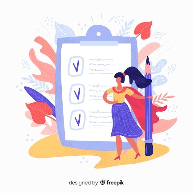 Ilustración lista de comprobación gigante con hojas y mujer dibujada a mano vector gratuito