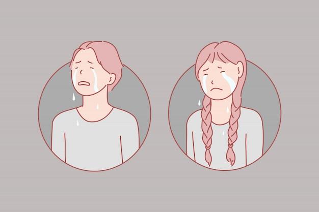 Ilustración de llanto, niños, estrés, lágrimas Vector Premium