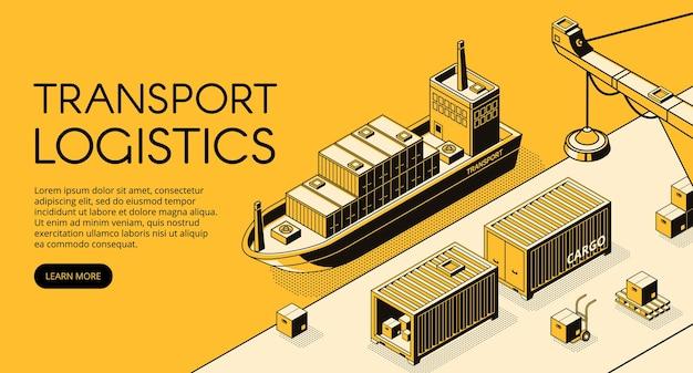 Ilustración de logística de transporte marítimo de líneas finas en semitono isométrico negro. vector gratuito