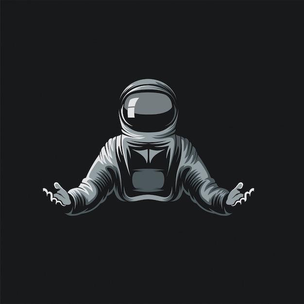 Ilustración del logo del astronauta Vector Premium