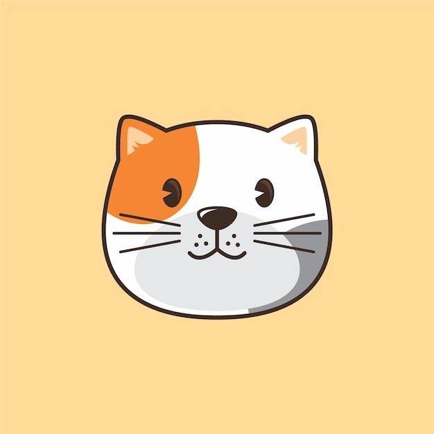 Ilustración de logo de dibujos animados de cabeza de gato Vector Premium