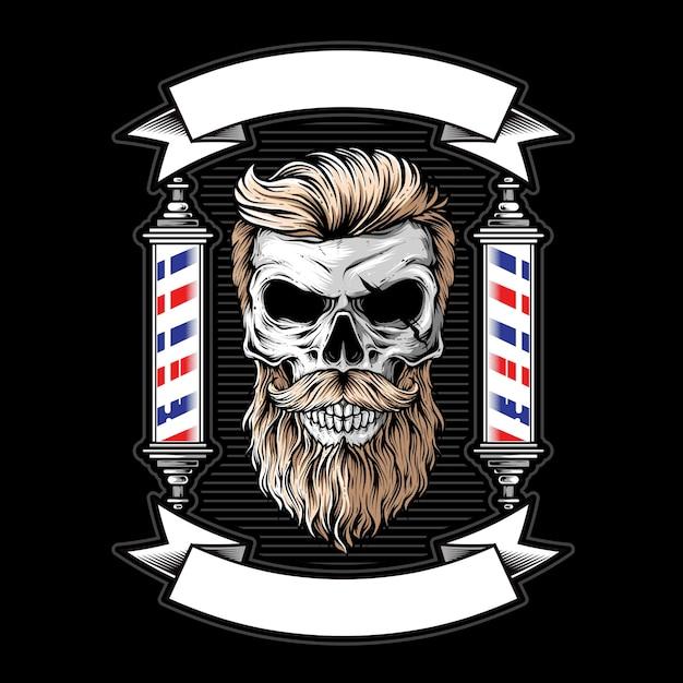 Ilustración de logotipo de barbería de calavera Vector Premium