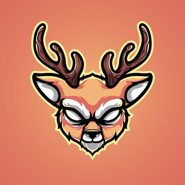 Ilustración del logotipo de cabeza de ciervo Vector Premium