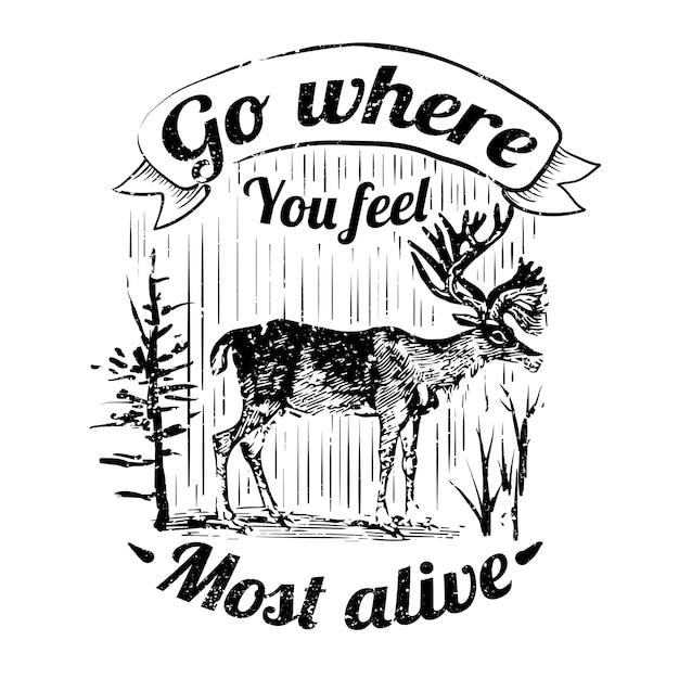 Ilustración de logotipo de ciervo salvaje vector gratuito