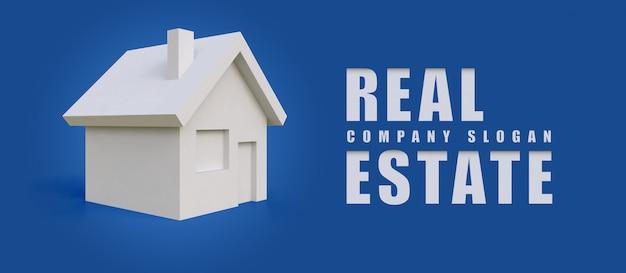 Ilustración del logotipo de la empresa en forma de una casa blanca simple. Vector Premium
