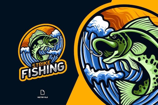 Ilustración del logotipo de esport de la mascota de la pesca de peces para el personaje del equipo del juego deportivo Vector Premium