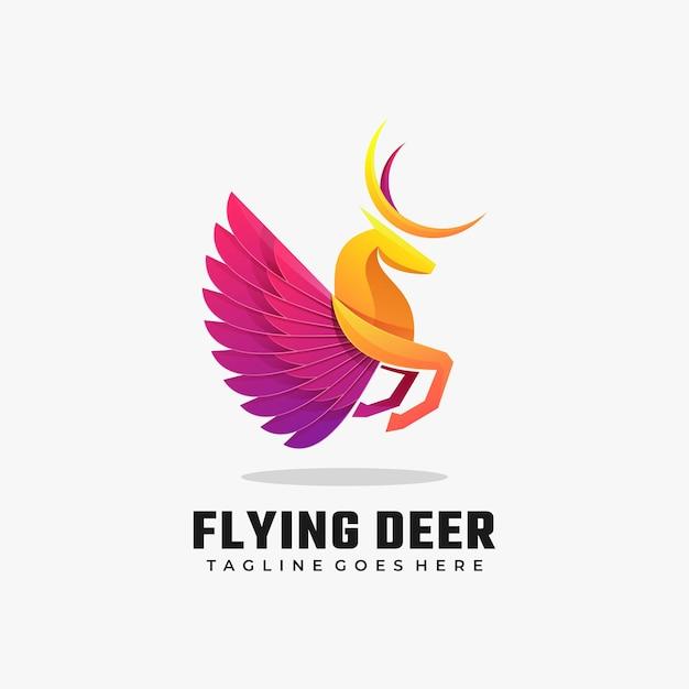 Ilustración de logotipo estilo colorido degradado de ciervos voladores. Vector Premium