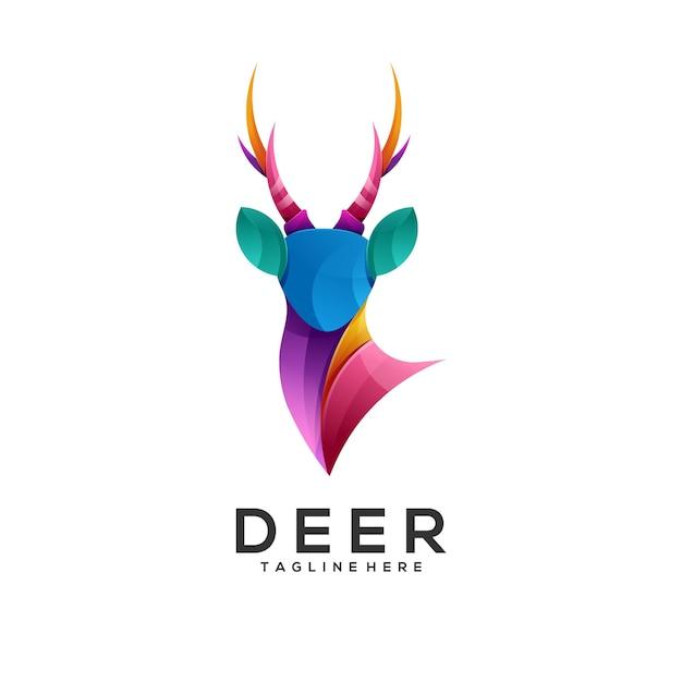 Ilustración de logotipo estilo colorido degradado de ciervos Vector Premium
