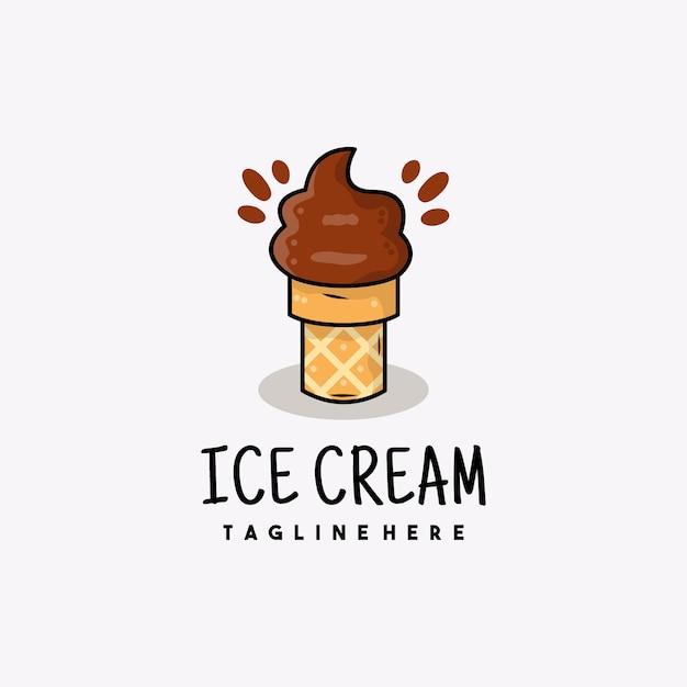 Ilustración de logotipo de icono de helado de chocolate creativo Vector Premium
