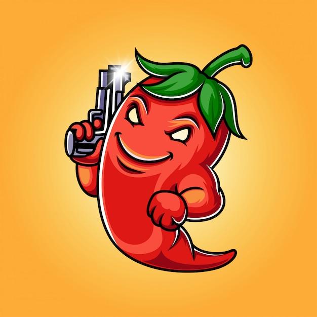 Ilustración de logotipo de mascota de chile Vector Premium