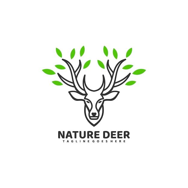 Ilustración de logotipo nature deer line art style. Vector Premium