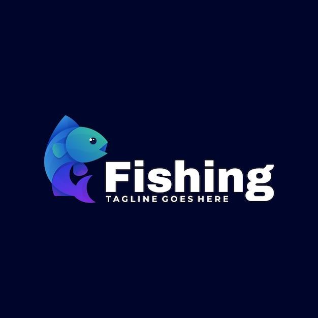 Ilustración de logotipo vectorial estilo colorido degradado de pesca. Vector Premium