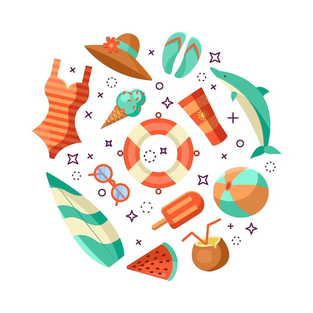 Ilustración de logotipo de verano. horario de verano, disfruta de tus vacaciones. vector gratuito