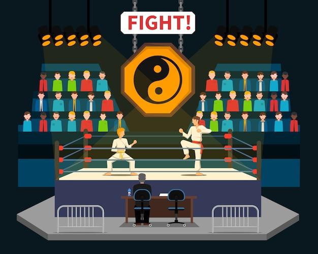Ilustración de lucha de artes marciales vector gratuito
