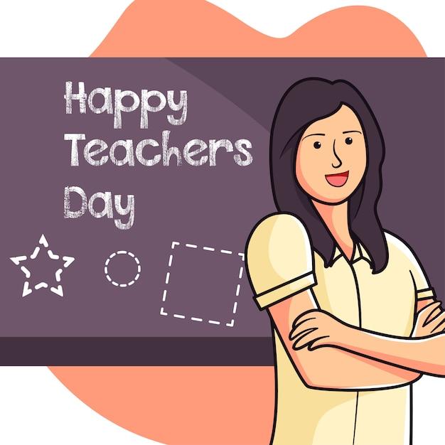 Ilustración de maestros felices de enseñar en la escuela Vector Premium