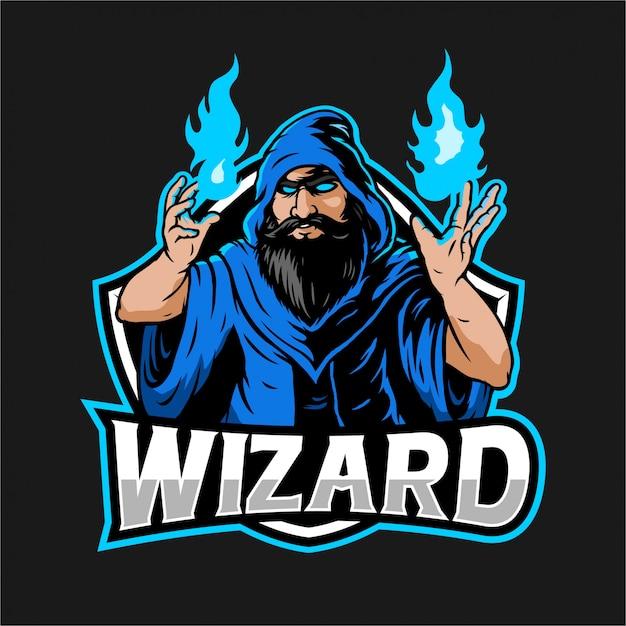 Ilustración de mago con fuego azul en la mano para el logotipo de esport Vector Premium