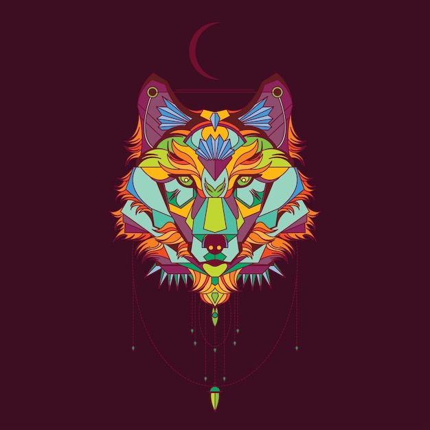 Ilustración De Mandala De Lobo Descargar Vectores Premium