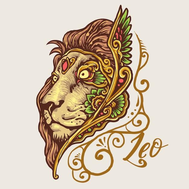 Ilustración De Mandala De Zodiaco Leo Dibujado A Mano Vector Premium