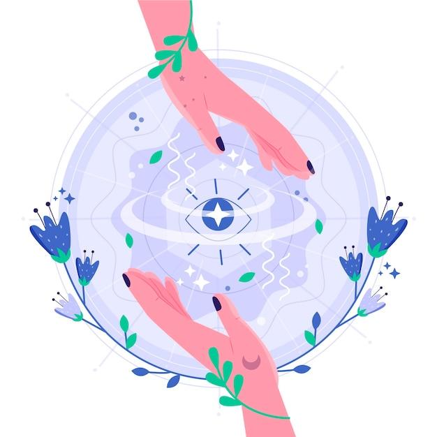 Ilustración de manos curativas de energía con flores vector gratuito