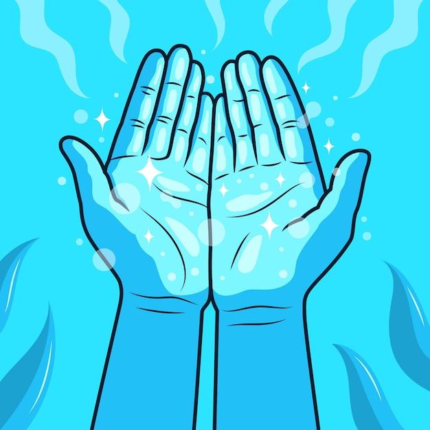 Ilustración de manos curativas de energía vector gratuito