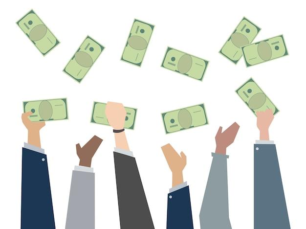 Ilustración de manos sosteniendo papel moneda vector gratuito
