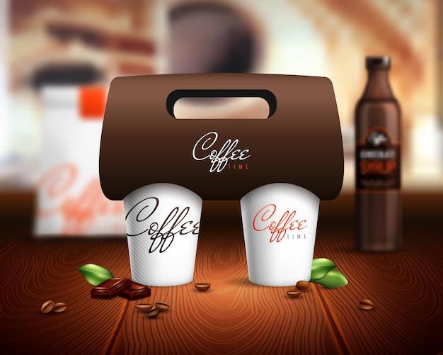 Ilustración de maqueta de tazas de café vector gratuito