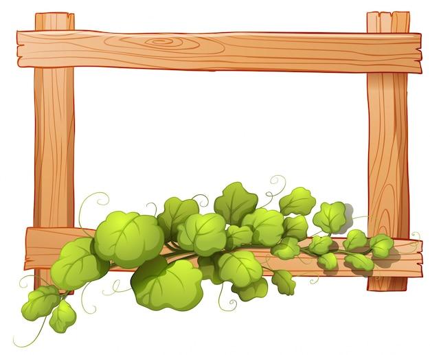 Ilustración de un marco de madera con una planta frondosa sobre un ...