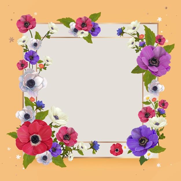 Ilustración de marco de maqueta floral vector gratuito