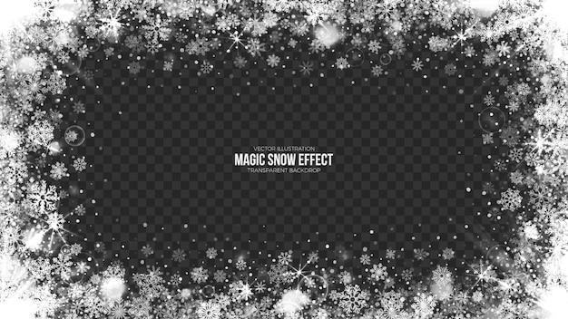 Ilustración de marco de nieve transparente 3d Vector Premium