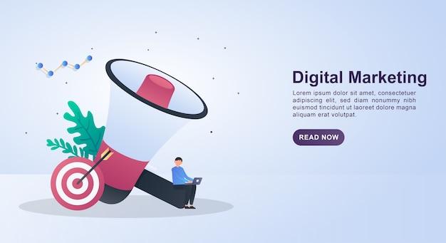 Ilustración de marketing digital con gran megáfono y destino. Vector Premium