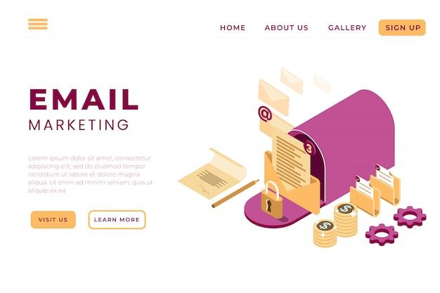 Ilustración de marketing en línea por correo electrónico, servicios de soporte en línea con el concepto de páginas de inicio isométricas y encabezados web Vector Premium