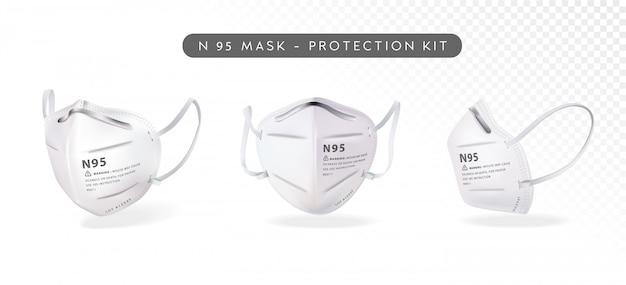 Ilustración de máscara n95 realista en tres ángulos diferentes Vector Premium
