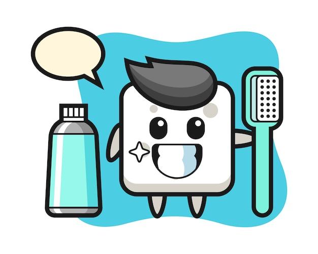 Ilustración de la mascota del cubo de azúcar con un cepillo de dientes, estilo lindo para camiseta, pegatina, elemento de logotipo Vector Premium