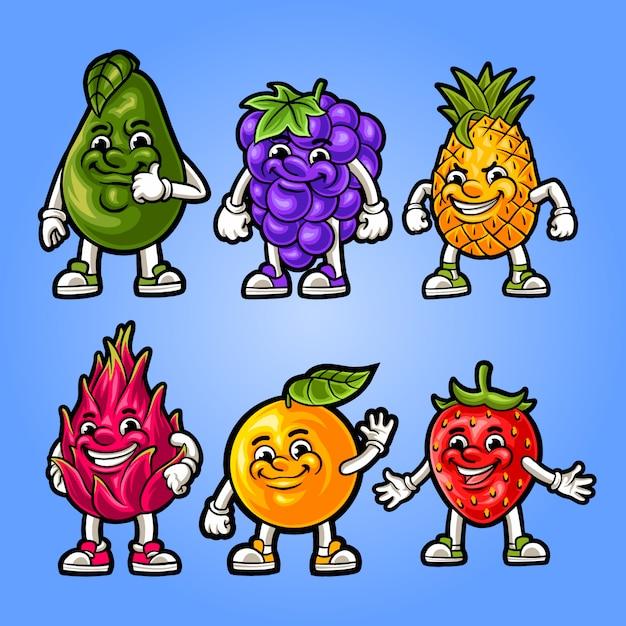 Ilustración de la mascota de frutas en conjunto Vector Premium