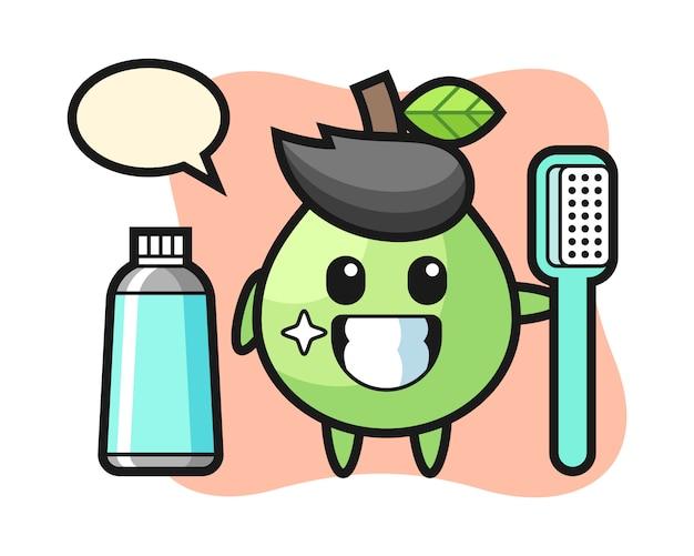 Ilustración de mascota de guayaba con un cepillo de dientes, estilo lindo para camiseta, pegatina, elemento de logotipo Vector Premium