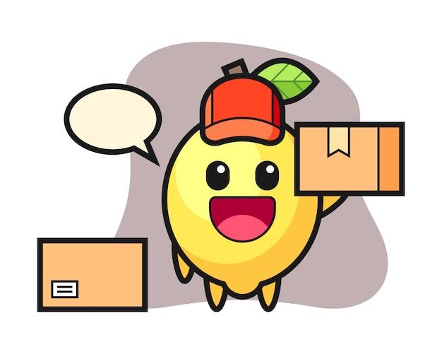 Ilustración de mascota de limón como mensajero Vector Premium