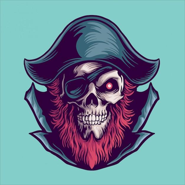 Ilustración de mascota pirata Vector Premium