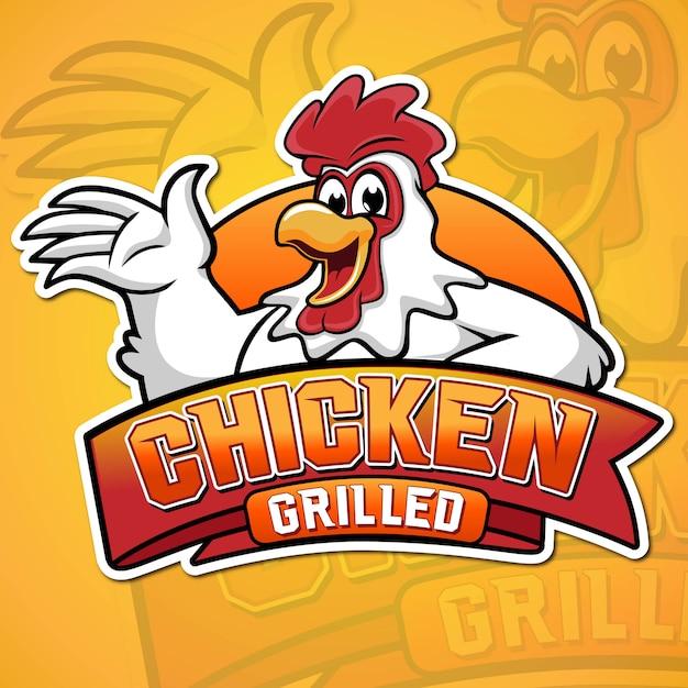 Ilustración de mascota de pollo a la parrilla Vector Premium
