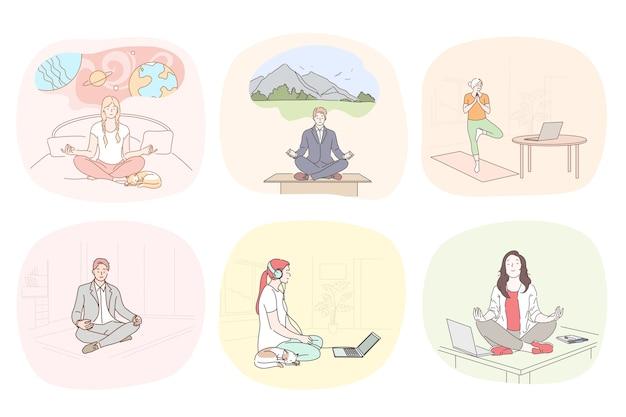 Ilustración de meditación y relajación. Vector Premium