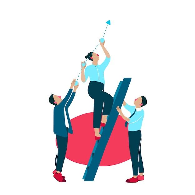 Ilustración de mejora de crecimiento de negocios vector gratuito